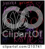 Royalty Free RF Clipart Illustration Of A Digital Collage Of Love Words And Doodles On Black by Arena Creative