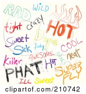Royalty Free RF Clipart Illustration Of A Digital Collage Of Sketched Slang Words On White
