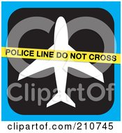 Royalty Free RF Clipart Illustration Of A Police Line Do Not Cross Tape Over An Airplane On Black And Blue by Arena Creative