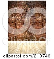 Royalty Free RF Clipart Illustration Of A Light Hardwood Floor Against A Grungy Brick Wall by Arena Creative