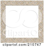 Diamond Plate Border Frame Around Blank White Space