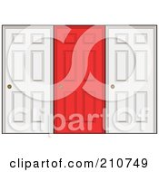 Royalty Free RF Clipart Illustration Of A Red Door In The Center Of Two White Doors