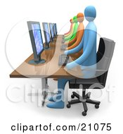Clipart Illustration Of A Busy Office Of Diverse And Colorful People Working On Computers