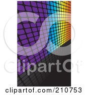 Royalty Free RF Clipart Illustration Of A Square Grid Rainbow Wall Leading Off To The Right On A Reflective Black