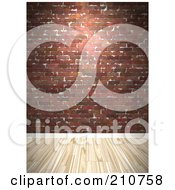 Royalty Free RF Clipart Illustration Of A Light Hardwood Floor Against A Deep Red Brick Wall by Arena Creative