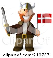 Royalty Free RF Clipart Illustration Of A 3d Young Viking Facing Front Holding A Sword And Flag by Julos