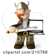 Royalty Free RF Clipart Illustration Of A 3d Young Viking Facing Front Pointing A Sword At A Laptop by Julos