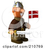 Royalty Free RF Clipart Illustration Of A 3d Young Viking Facing Left Holding A Sword And Flag