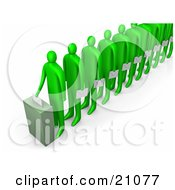 Clipart Illustration Of A Line Of Green People Holding Ballots And Waiting For Their Turn To Vote