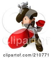 Royalty Free RF Clipart Illustration Of A 3d Young Pirate Wearing Boxing Gloves And Punching Upwards by Julos