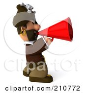 Royalty Free RF Clipart Illustration Of A 3d Young Pirate Facing Right And Announcing Through A Megaphone by Julos