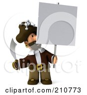 Royalty Free RF Clipart Illustration Of A 3d Young Pirate With A Sword Smiling Up At A Sign On A Pole by Julos