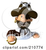 Royalty Free RF Clipart Illustration Of A 3d Young Pirate With A Sword Over A Blank Sign by Julos