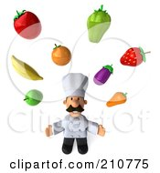 Royalty Free RF Clipart Illustration Of A 3d Chef Man Looking Upwards And Juggling Produce