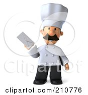 Royalty Free RF Clipart Illustration Of A 3d Chef Man Facing Front And Holding An Envelope