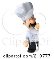 Royalty Free RF Clipart Illustration Of A 3d Chef Man Standing And Looking Around A Blank Sign