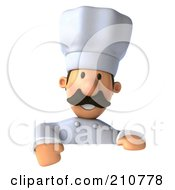 Royalty Free RF Clipart Illustration Of A 3d Chef Man Smiling And Gesturing Over A Blank Sign