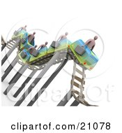 Businessmen Carrying Briefcases Riding On A Bumpy Roller Coaster