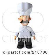 Royalty Free RF Clipart Illustration Of A 3d Chef Man Standing And Facing Front by Julos