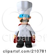 Royalty Free RF Clipart Illustration Of A 3d Chef Man Super Hero Facing Front With His Arms At His Sides