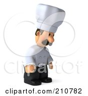 Royalty Free RF Clipart Illustration Of A 3d Chef Man Facing Right And Pouting