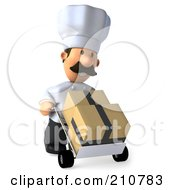 Royalty Free RF Clipart Illustration Of A 3d Chef Man Pushing Boxes On A Dolly