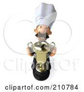 Royalty Free RF Clipart Illustration Of A 3d Chef Man Holding A Trophy And Looking Up
