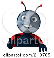 Royalty Free RF Clipart Illustration Of A 3d Ladybug Smiling And Holding A Thumb Up Over A Blank Sign by Julos