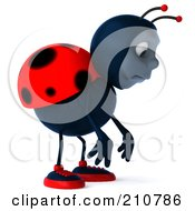Royalty Free RF Clipart Illustration Of A 3d Ladybug Pouting And Facing Right by Julos