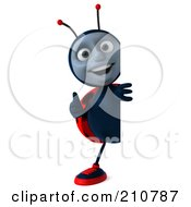 Royalty Free RF Clipart Illustration Of A 3d Ladybug Smiling And Holding A Thumb Up Around A Blank Sign by Julos