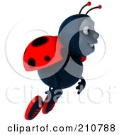 Royalty Free RF Clipart Illustration Of A 3d Ladybug Smiling And Flying Right by Julos