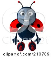 Royalty Free RF Clipart Illustration Of A 3d Ladybug Smiling And Flying Forward by Julos