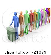 Clipart Illustration Of A Line Of Diverse Colorful People Holding Ballots And Waiting For Their Turn To Vote
