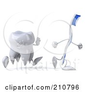 Royalty Free RF Clipart Illustration Of A 3d Dental Tooth Character Running After A Tooth Brush