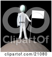 Cosmonaut In A Space Suit Standing On Top Of A Planet And Sticking A Flag In The Dirt