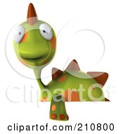 Royalty Free RF Clipart Illustration Of A 3d Spotted Dino Character Behind A Blank Sign