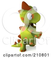 Royalty Free RF Clipart Illustration Of A 3d Spotted Dino Character Standing And Looking Around A Blank Sign