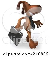 Royalty Free RF Clipart Illustration Of A 3d Brown Pooch Business Dog Walking Right And Carrying A Briefcase