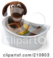 Royalty Free RF Clipart Illustration Of A 3d Brown Pooch With A Ducky Floatie Sitting In A Tub