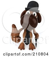3d Brown Pooch Gentleman With An Umbrella Holding A Thumb Up