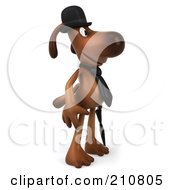Royalty Free RF Clipart Illustration Of A 3d Brown Pooch Gentleman With An Umbrella Facing Right