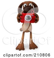 Royalty Free RF Clipart Illustration Of A 3d Brown Pooch Facing Front And Taking A Picture