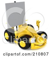 Royalty Free RF Clipart Illustration Of A 3d Yellow Formula One Race Car Facing Right And Holding A Blank Sign by Julos
