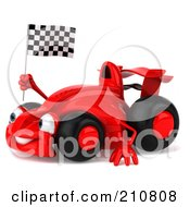 Royalty Free RF Clipart Illustration Of A 3d Red Formula One Race Car Waving And Holding A Checkered Flag by Julos