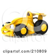 Royalty Free RF Clipart Illustration Of A 3d Yellow Formula One Taxi Car Facing Left by Julos
