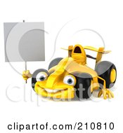 Royalty Free RF Clipart Illustration Of A 3d Yellow Formula One Race Car Facing Left And Holding A Blank Sign by Julos