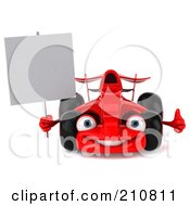 Royalty Free RF Clipart Illustration Of A 3d Red Formula One Race Car Facing Front And Holding A Blank Sign by Julos