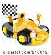 Royalty Free RF Clipart Illustration Of A 3d Yellow Formula One Race Car Waving And Holding A Checkered Flag by Julos