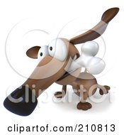 3d Brown Pookie Wiener Dog Facing Left With A Bone In His Mouth