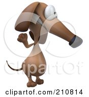 3d Brown Pookie Wiener Dog Facing Right And Waving
